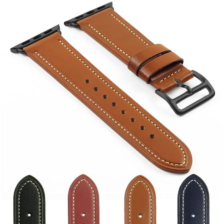 DASSARI Smooth Leather iWatch Band Strap for Apple Watch w/ Matte Black Buckle 38mm 42mm - image 4 of 4