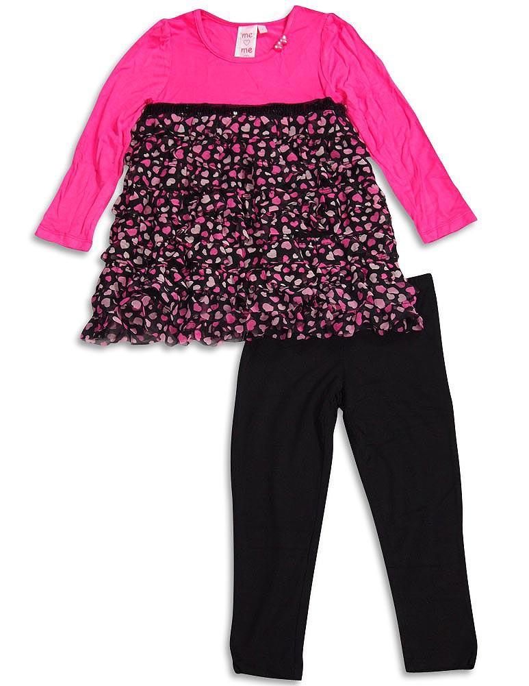 Me Me Me by Lipstik - Little Girls Long Sleeve Pant Set Asst Fabrics Pink Hearts / 4