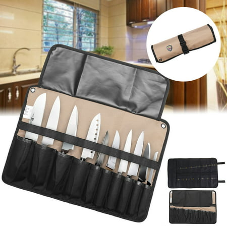 10/21 Pockets Professional Chef Knife Bag workbag Roll Bag Carry Case bag Kitchen Portable Storage Store 10 Knife For Home/Kitchen Dining (Knife are not
