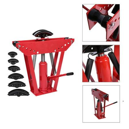 Ktaxon 12 Ton Manual Hydraulic Pipe Tube Bender, 6 Dies Tubing Exhaust Bending, Multi Bender Kit, Red (Rigid Hydraulic Pipe Bender)