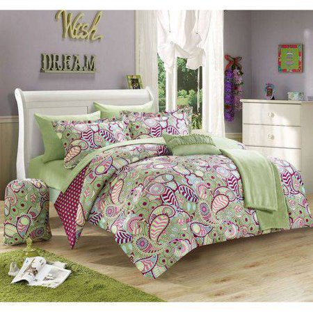 Chic Home 10-Piece Duchess Paisley and Polka Dot Printed Reversible Comforter Set