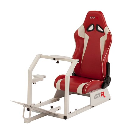 GTR Racing Simulator GTA-WHT-S105LRDWHT GTA 2017 Model White Frame with Red/White Real Racing Seat, Driving Simulator Cockpit Gaming Chair with Gear Shifter Mount](Gta Halloween 2017)
