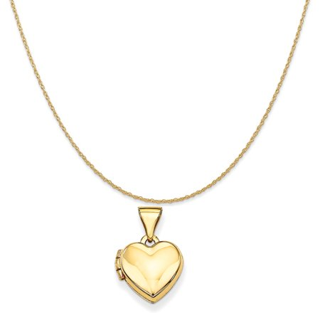 14k Yellow Gold Plain Heart Locket Pendant on a 14K Yellow Gold Rope Chain Necklace, - Plain Oval Locket Pendant