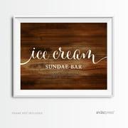 Ice Cream Sundae Bar Rustic Wood Wedding Party Signs