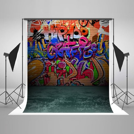 Hellodecor Polyester Fabric 5x7ft Photography Background Graffiti Street Style Wall Painting Kid Studio Background