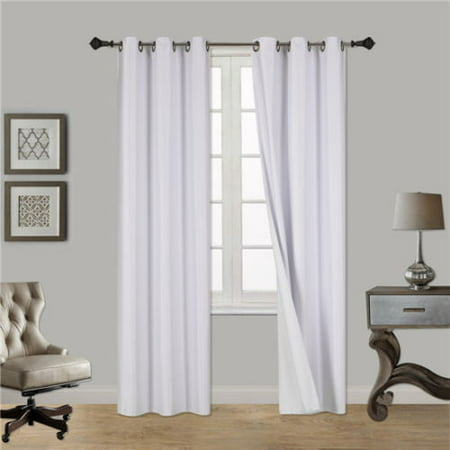 Tooth Blackout (WHITE 1-Piece Noa Solid Blackout Grommet-Top Window Curtain Panel 37