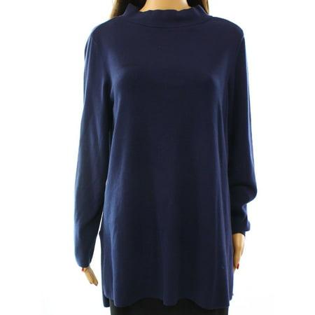 Alfani NEW Blue Womens Size Large L Mock Neck Hi-Lo Tunic Sweater