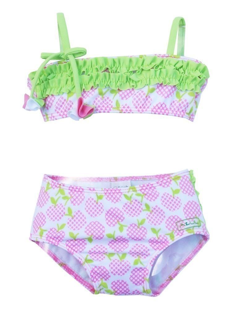 Azul Baby Girls Pink Green Garden Of Eden Pc Bandeau Bikini Swimsuit