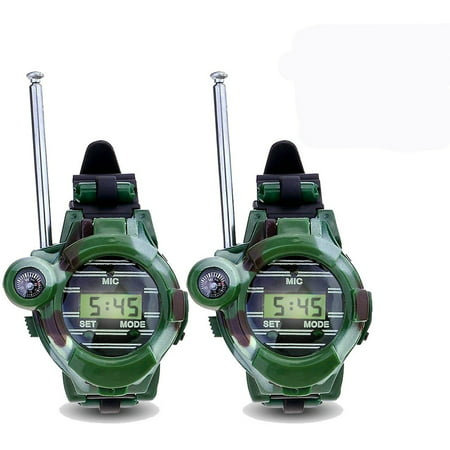 Walkie Talkies- Cool Outdoor Toys Gifts for Girls/Boys,Kids' Camouflage Military Watch Walkie Talkies,Two-Way Long Range Watch Radio Transceiver with Flashlight,2 Pack (Walky Talky Watch)