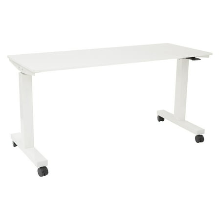 5' Wide Pneumatic Height Adjustable Table with Locking Black Casters, Steel Frame and Laminate (Office Laminate Top Table)