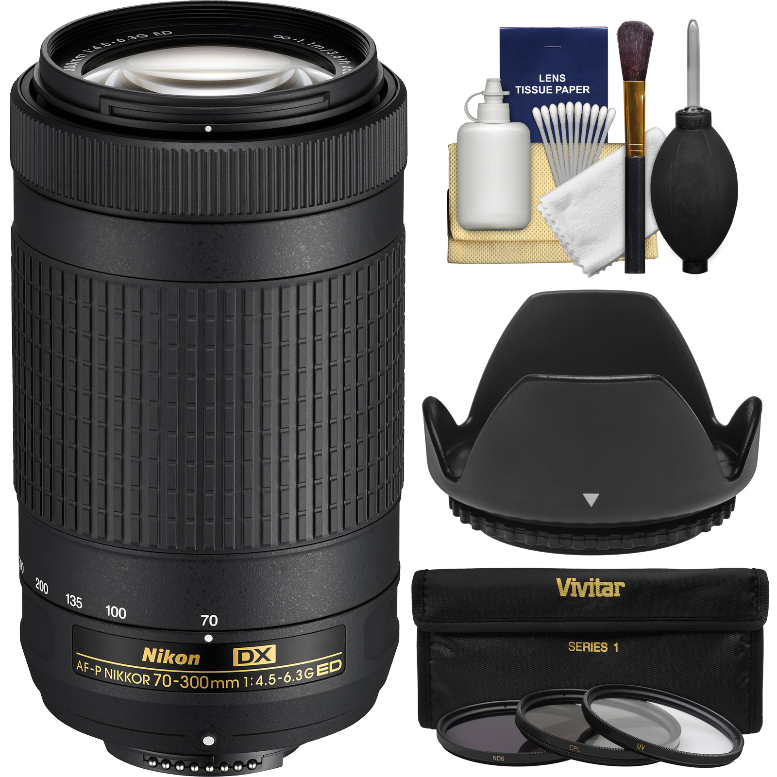 Nikon 70-300mm f/4.5-6.3G DX AF-P ED Zoom-Nikkor Lens - Factory Refurbished with 3 UV/CPL/ND8 Filters + Hood + Kit