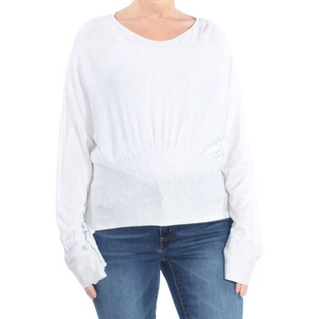 FRENCH CONNECTION Womens White Cut Out Long Sleeve Peplum Top  Size: L