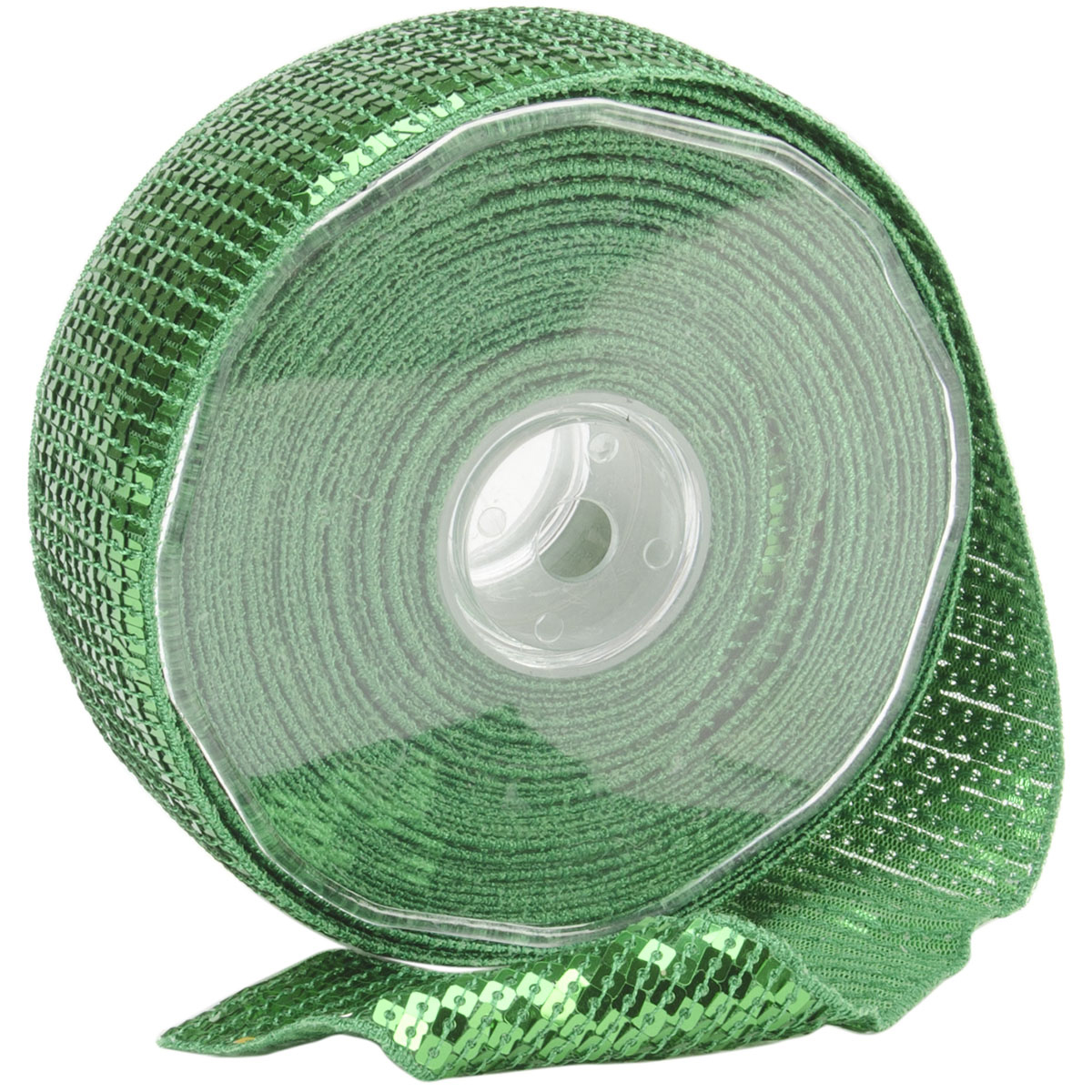 Square Sequin Trim 40mm X 15.95 Yards-Lime Green