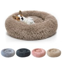 Round Plush Pet Bed for Dogs & Cats,Fluffy Soft Warm Calming Bed Sleeping Kennel Nest