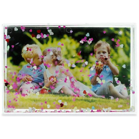 Hearts Glitter Water Globe Style Picture Frame - Snow Globe Photo Frame