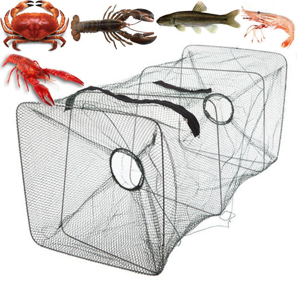 Foldable Fish Net Fishing Bait Trap Cast Dip Cage