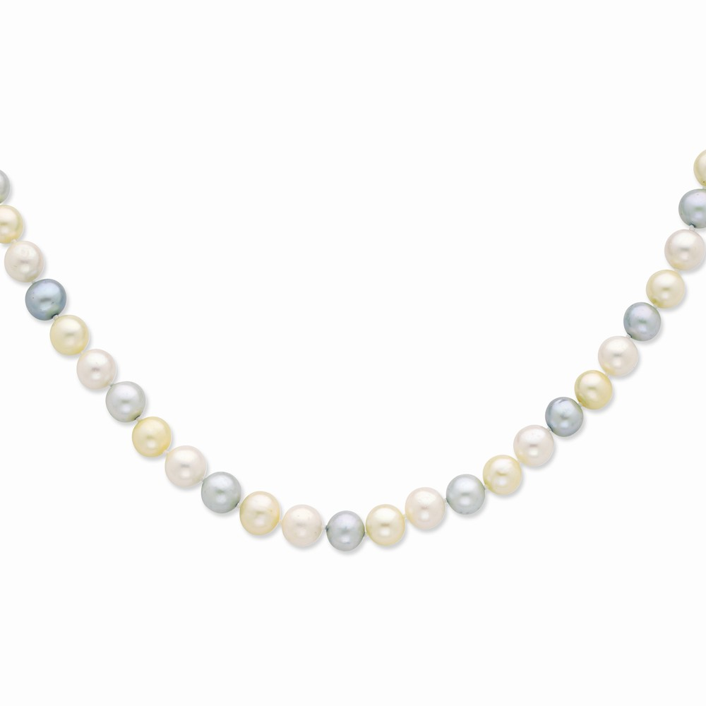 Sterling 20in Silver 9-10mm Blue & White Freshwater Cultured Pearl Necklace. by Jewelrypot