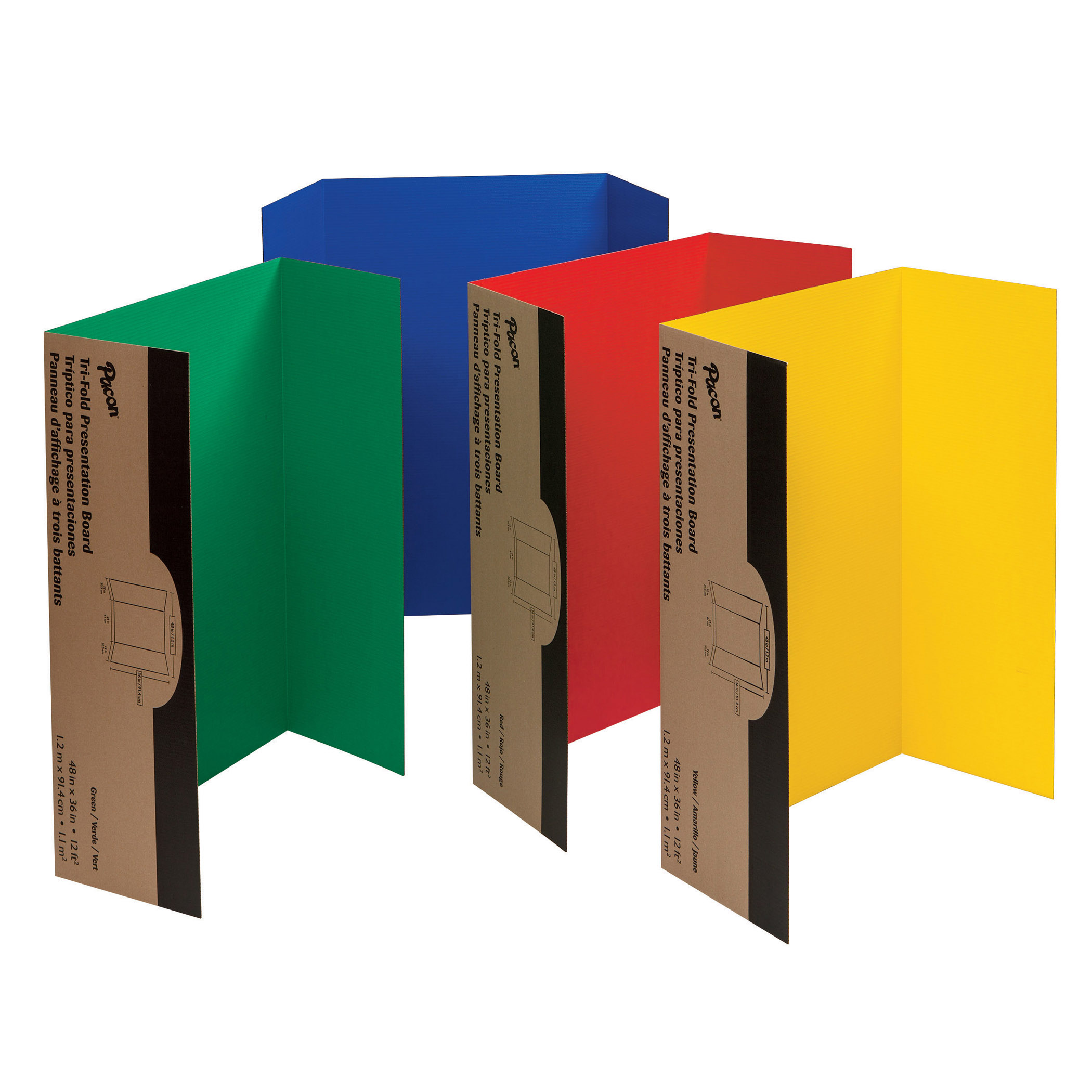 """Pacon® Presentation Board, 48"""" x 36"""", Green, Red, Yellow, Blue, Pack of 4"""