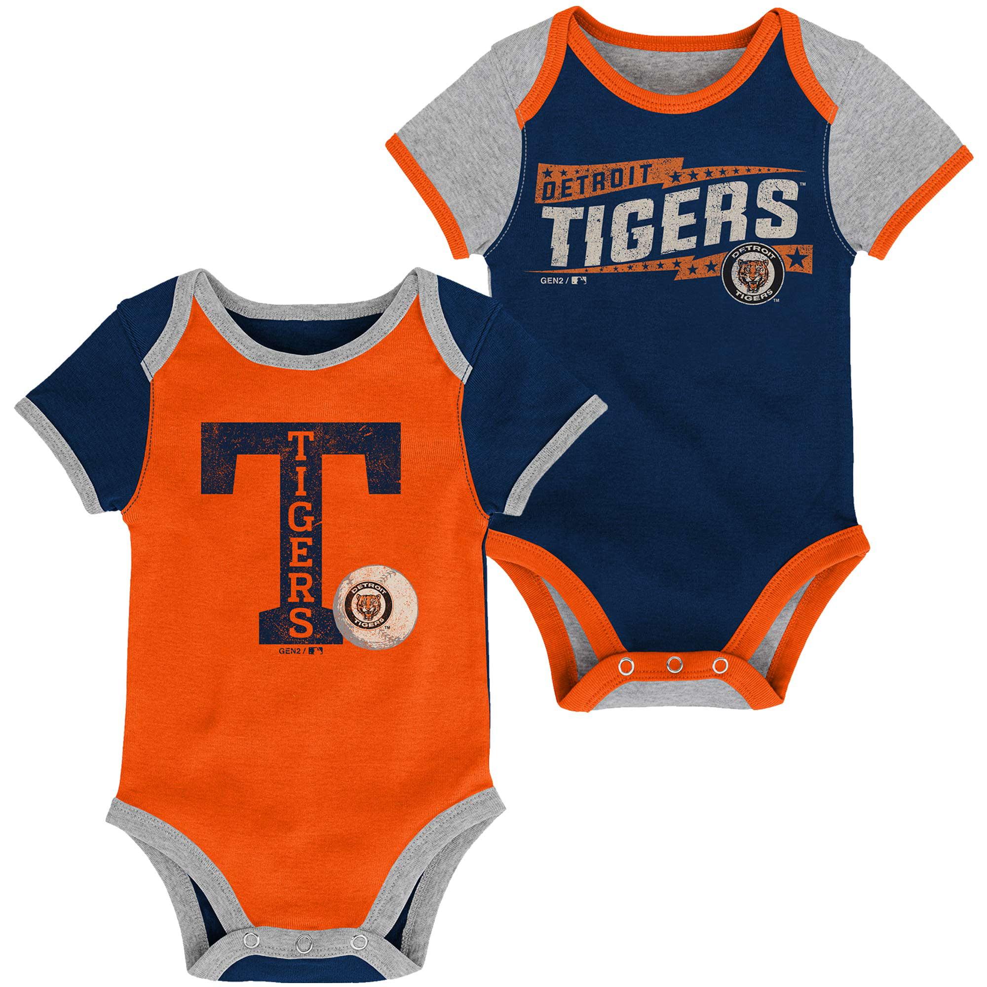 Detroit Tigers Newborn Baseball Star Two-Pack Bodysuit Set - Navy/Orange