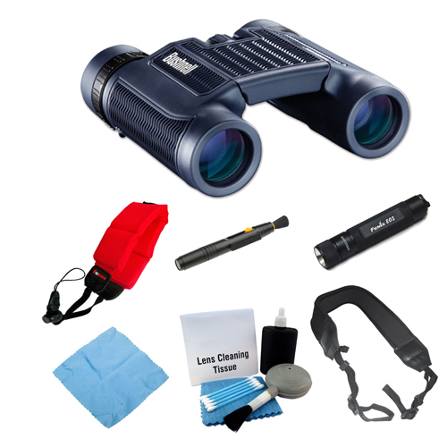 Bushnell H2O 10x25mm Compact Foldable Binocular (Black) + LED Flash + Floating Foam Strap + Accessory Bundle