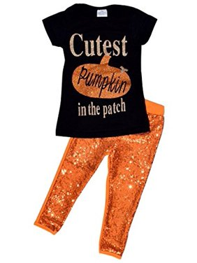 "Unique Baby Girls 2 Piece ""Cutest Pumpkin in the Patch"" Halloween Outfit (7)"