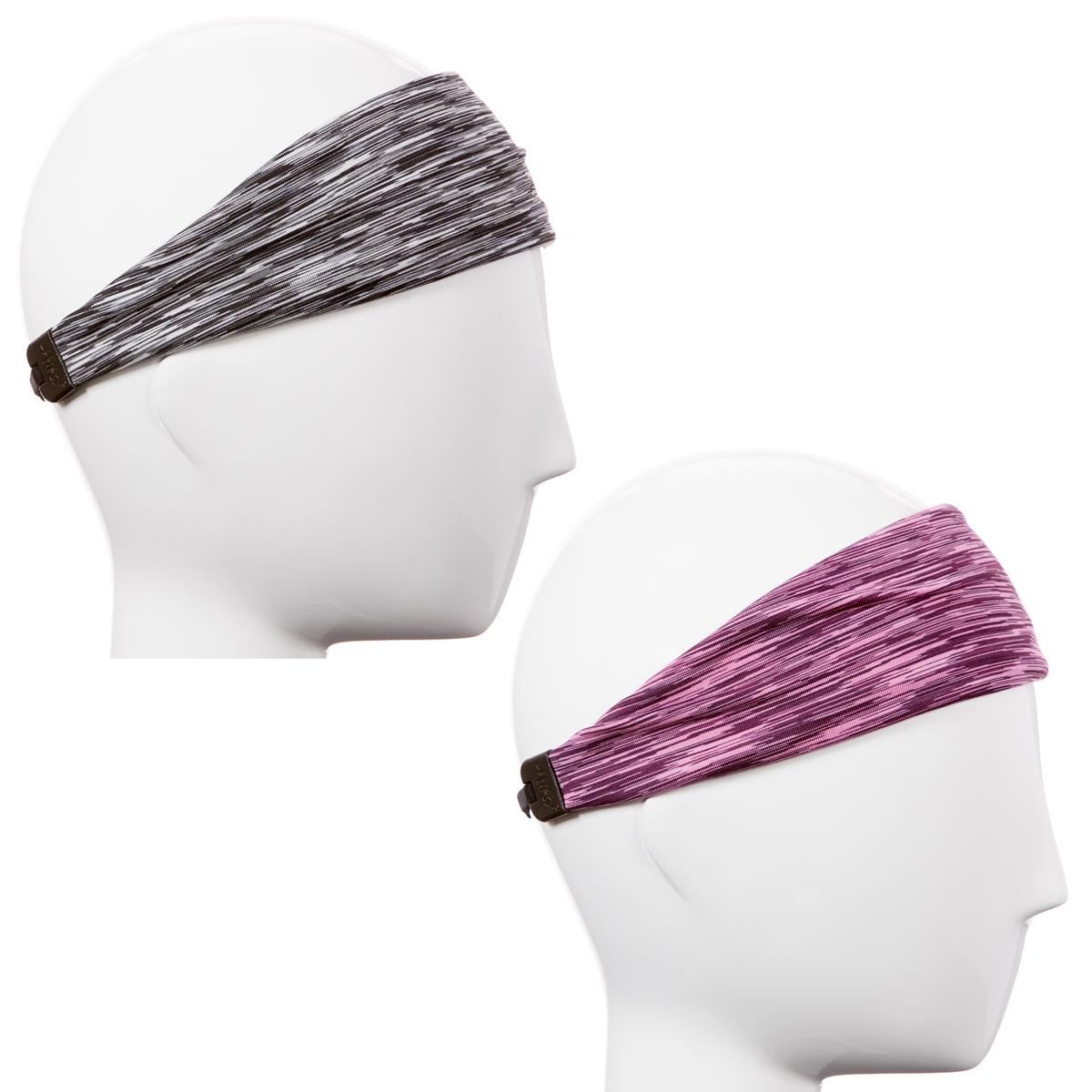 Hipsy Women's Adjustable & Stretchy Xflex Band Space Dye Headband 2pk (Grey & Pink)