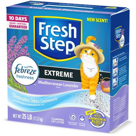 Fresh Step Extreme Scented Litter with the Power of Febreze, Clumping Cat Litter Mediterranean Lavender, 25 Pounds