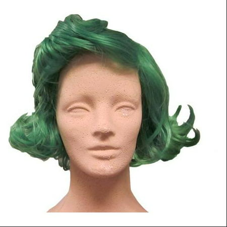Wonka Chocolate Factory Worker Green Costume Wig - Bowie Wig
