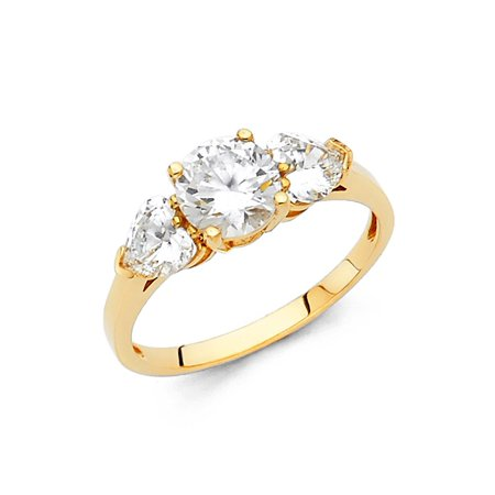 14k Solid Yellow Gold Ring - 14K Solid Yellow Gold Cubic Zirconia Round Cut Wedding Engagement Ring with Heart Side Stones, Size 4