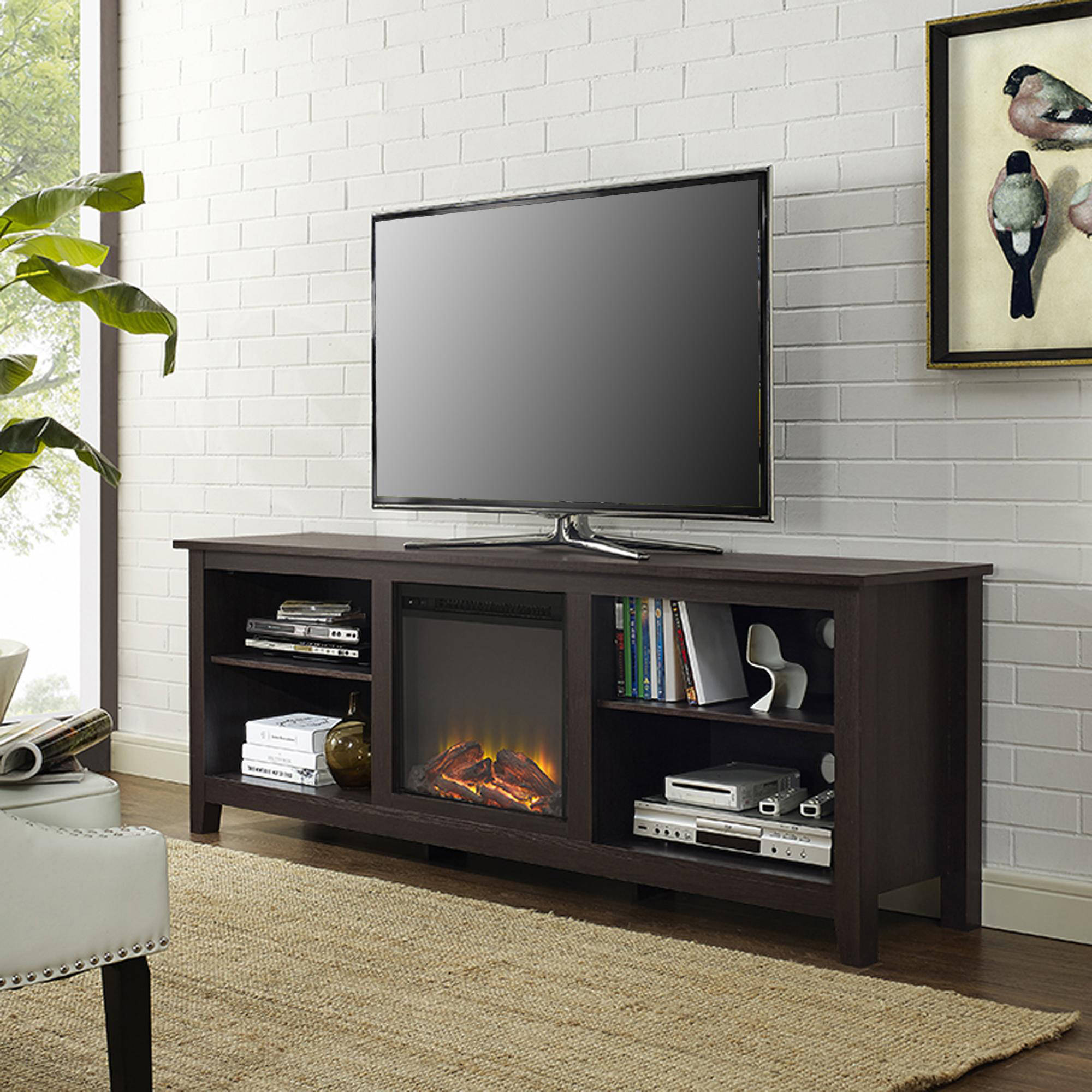 "70"" Fireplace TV Media Storage Stand for TV's up to 75"", Multiple Finishes"
