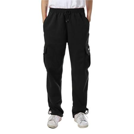 6df5e57b1 Men's Cargo Sweatpants Heavy Weight Fleece Long Pants M-5XL