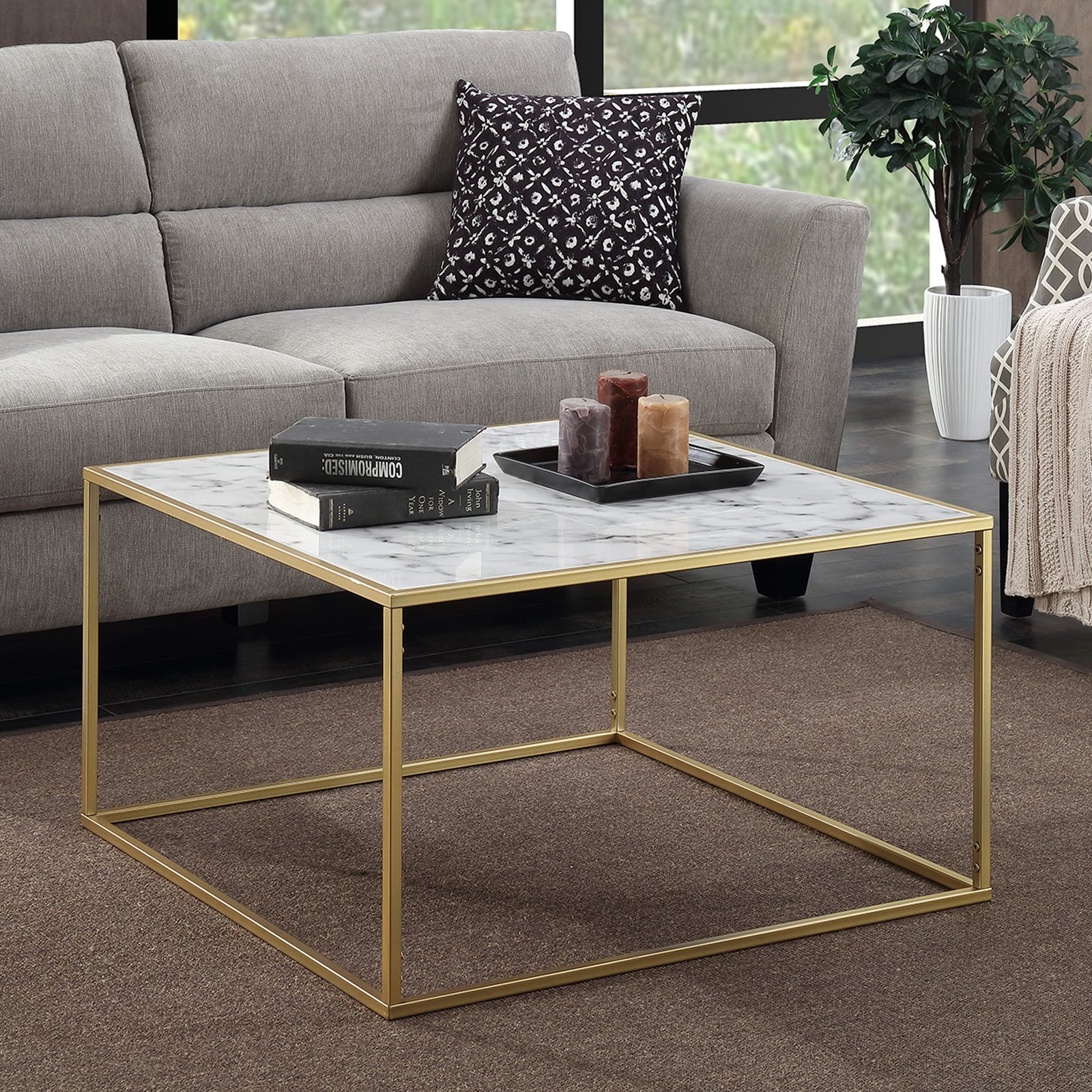 Wonderful Convenience Concepts Gold Coast Faux Marble Coffee Table
