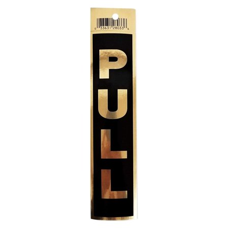 Elegant Pull Door Sticker Self Adhesive Sign, Brushed Gold Aluminum Letters & Outline 2