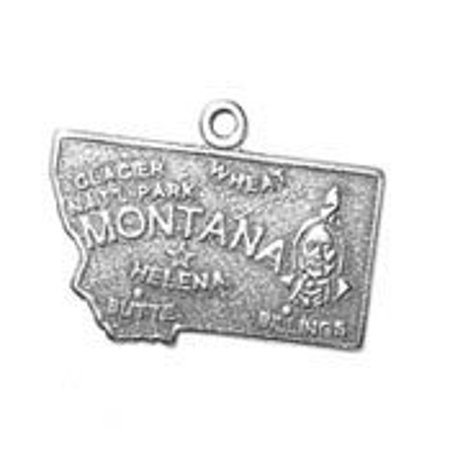 Sterling Silver Montana State Charm with Split Ring