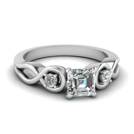 1/2 Carat Unique Three Stone Engagement Rings For Women Asscher Cut GIA Certified Diamond In 14K White Gold
