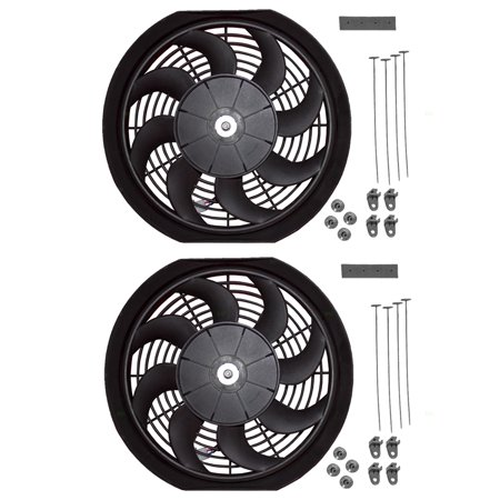 Set Universal Electric 12  Radiator Condenser Slim Push Pull Cooling Fans & Mounting Kit S Blade 12V 90W for Pickup Hot Rod Classic Car Van Set of Universal Electric Radiator/Condenser Cooling Fans with Mounting Kits(NOTE) Designed to replace the radiator and condenser cooling fans inside your pickup, car, hot rod, classic car, van or suv.Features  - Electric  - 12V/90W  - 2.7  Depth  - with S Blade  - Set of 12  Fans  - Universal Design  - with Mounting Kit sQuality Unless noted otherwise, these are new aftermarket parts. They will fit and function as the original factory part did.See Seller details for available warranty, return policy and more.