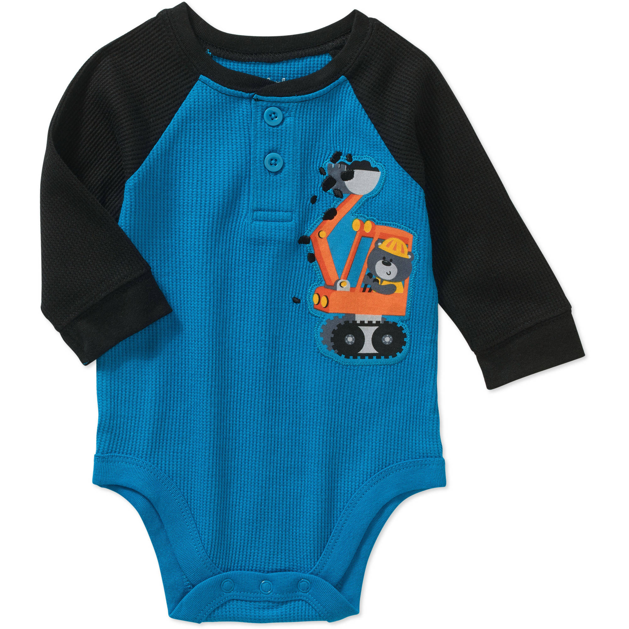 Garanimals Newborn Baby Boy Long Sleeve Thermal Graphic Raglan Bodysuit