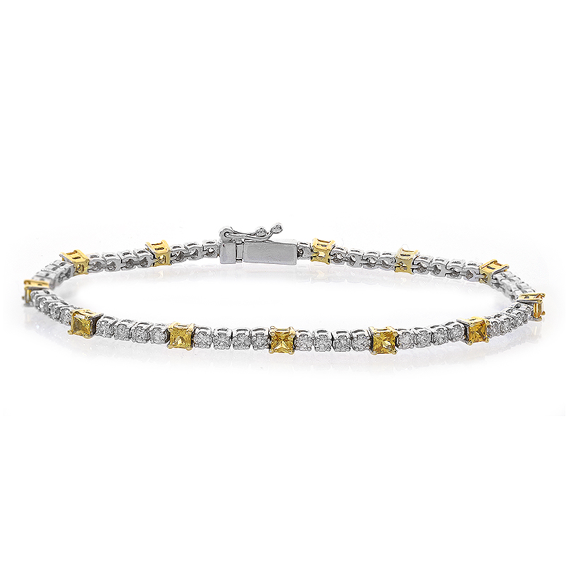 4.15 Carat Round Cut And Yellow Sapphire Diamond Four Prong Tennis Bracelet 18K White Gold by