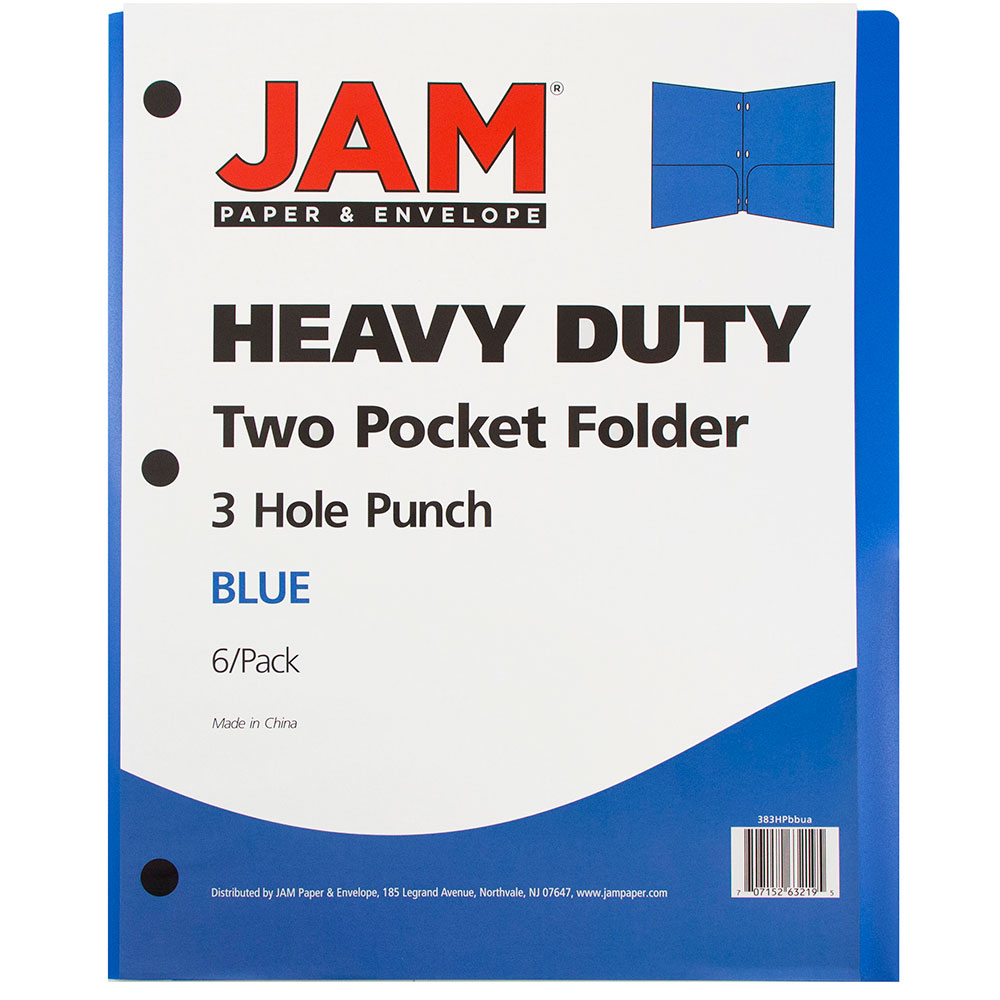 JAM Paper 2 Pocket 3 Hole Punched Plastic Presentation School Folder, Blue, 6 folders per box