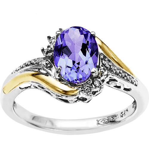Duet Sterling Silver with 10kt Yellow Gold Oval Amethyst and Diamond Accent Ring