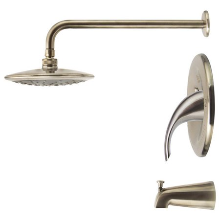 Sir Faucet 750 Brushed-Nickel Three Piece Rain Head Shower Set