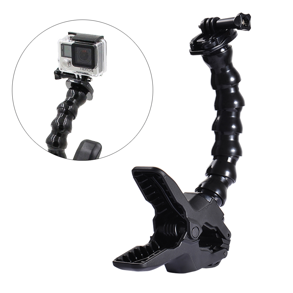 Jaws Flex Clamp Mount Camera Flexible Clip Adjustable Gooseneck Clamp Mount, Suitable for Gopro, Black