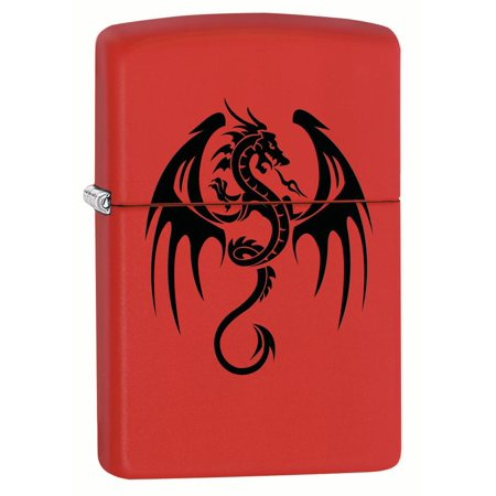 Zippo Lighter: Flaming Dragon Tattoo - Red Matte