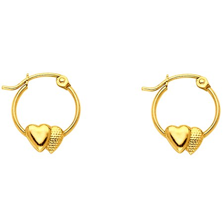 Small Round Hoops Double Heart Earrings Solid 14k Yellow Gold French Lock Polished Design 12 x 12 mm Solid 14k Gold Heart Earrings
