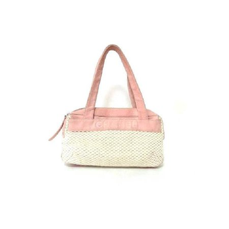 Chanel Woven Two-tone Satchel 19321 White X Pink Tote Bag