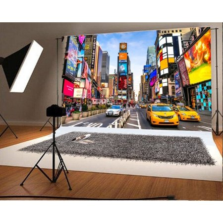 HelloDecor Polyster 7x5ft Photography Backdrop Times Square Cityscape Building House Traffic Cars Road Blue Sky White Cloud Nature Journey Background Kids Children Adults Photo Studio Props - Cityscape Backdrop