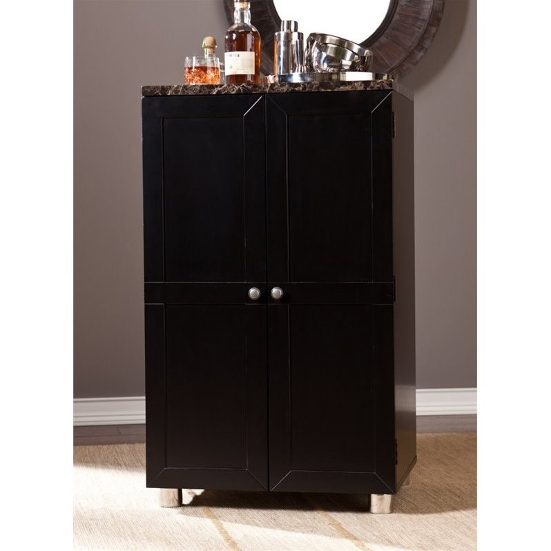Southern Enterprises Cape Town Home Bar Cabinet in Black