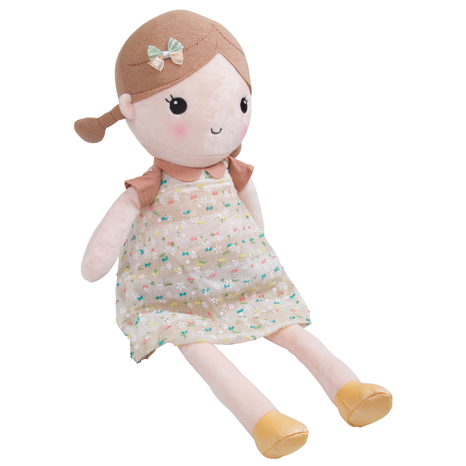 Goodsmann Lovely Spring Girl Wearing Floral Dress Baby Stuffed Cloth Dolls Kids Huggable Plush Toys, Doll Girl Cuddly Soft Snuggle Play Toy(Brown Floral, L) 9922-0011-02