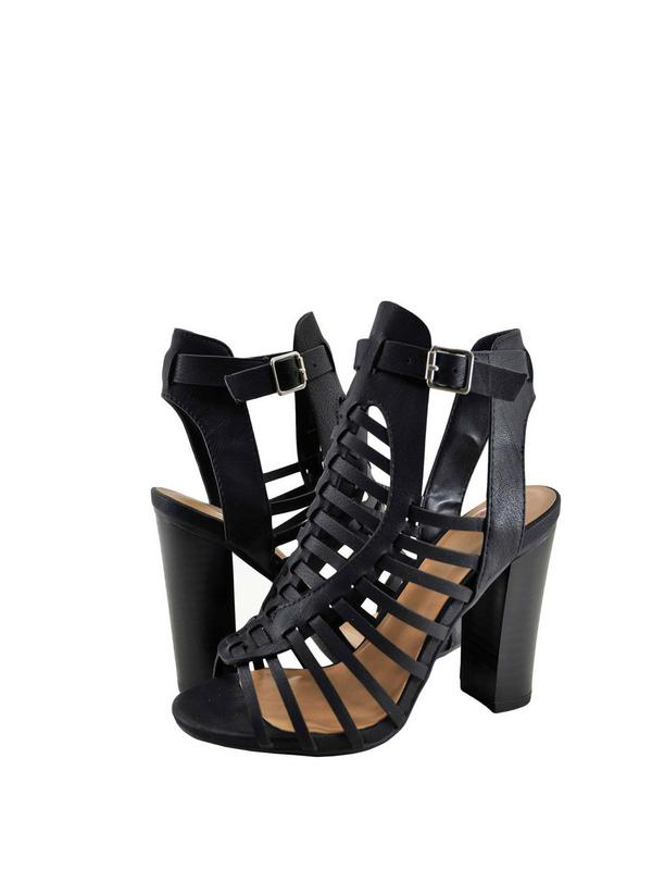 Delicious Ibiza S Womens Open Toe Caged Chunky Heel