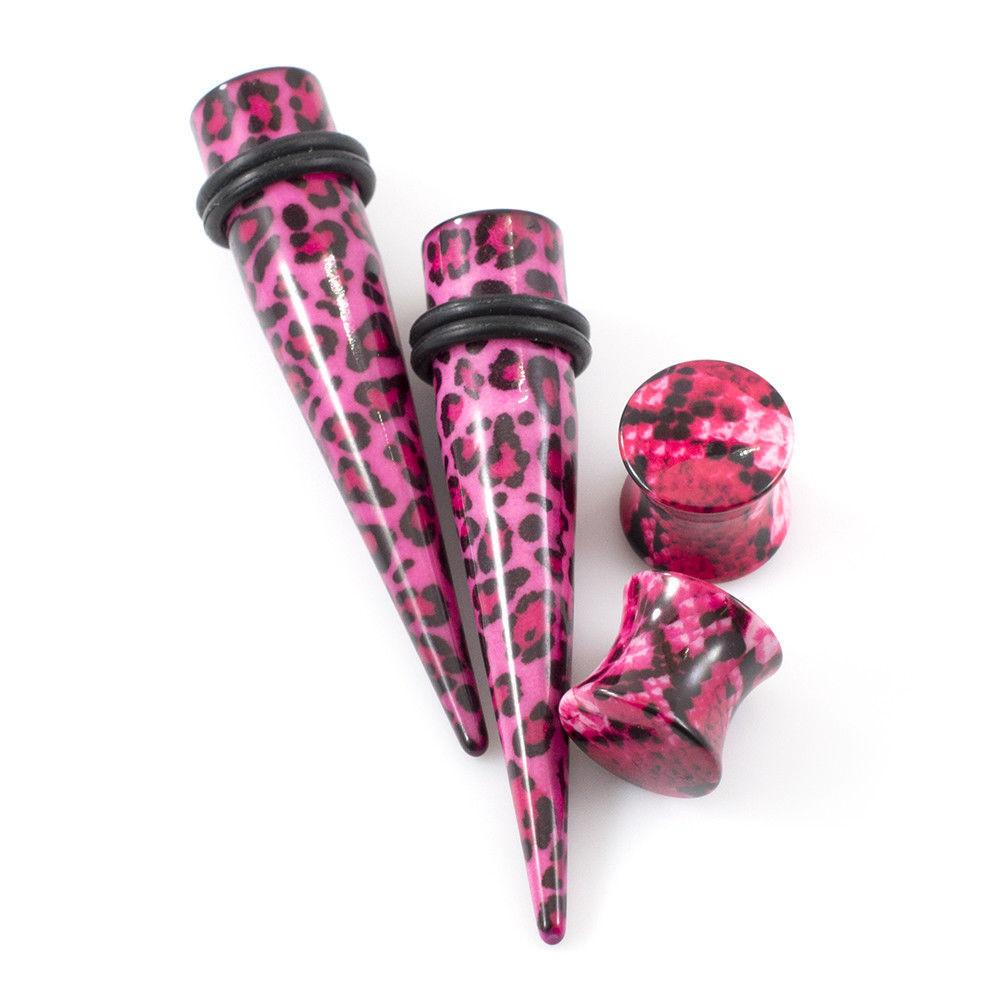 Stretching Tapers And Ear Plugs Pink and Black Leopard 8g to 5/8 Set Of 4